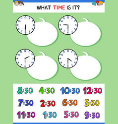 Telling time with clock face educational activity vector