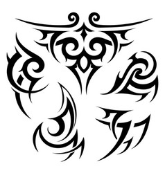 tribal tattoo set on white vector image