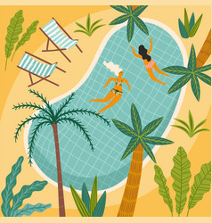tropical beach and swimming vector image