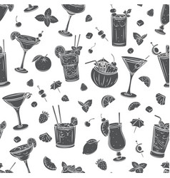 tropical cocklails seamless pattern vector image