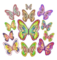 twelve bright colourful butterflies vector image