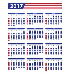 USA calendar 2017 with official holidays vector