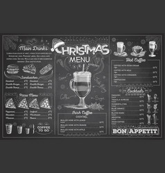 vintage chalk drawing christmas menu design vector image
