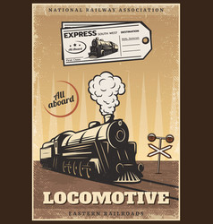 Vintage colored industrial retro train poster vector