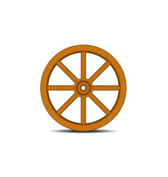 vintage wooden wheel with shadow vector image