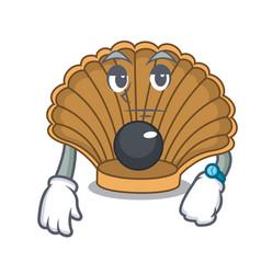 Waiting shell with pearl mascot cartoon vector