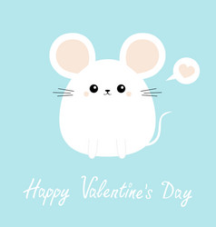 white mouse icon happy valentines day funny head vector image