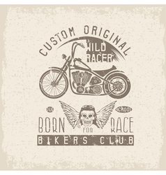 wild racer grunge vintage print with motorcycle vector image