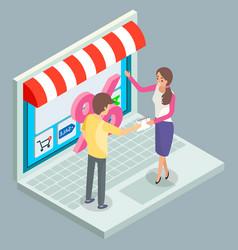 woman seller invites man to visit conceptual vector image