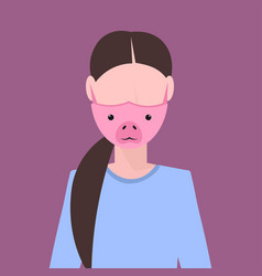Woman wearing protective mask with pig face smog vector