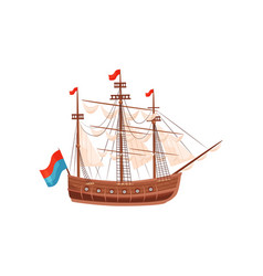 wooden ship with beige sails and bright flags vector image