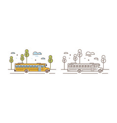yellow school bus linear vector image