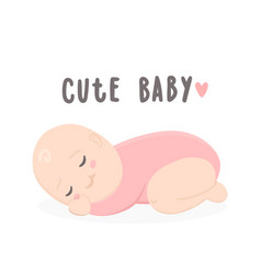 cute baby girl sleeping vector image