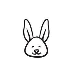easter bunny sketch icon vector image vector image