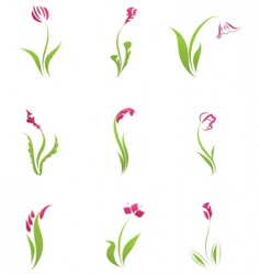 flower icons set vector image vector image