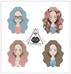 set of hipster girls vector image