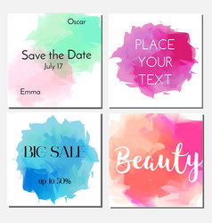 cards design template with watercolor effect vector image