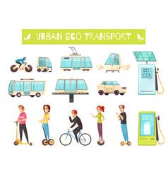 eco transport set vector image vector image