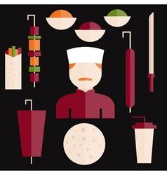 flat design doner kebab elements and chef vector image vector image