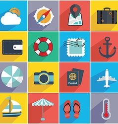 Flat Quality Travel Map Icons vector image