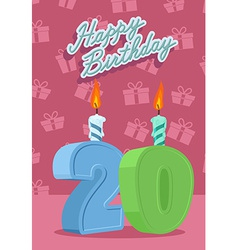 Happy birthday card with 20th birthday vector image vector image