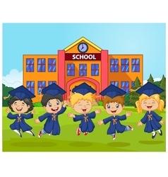 Cartoon little children graduation celebration on vector
