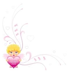 Happy Valentines day border Cupid boy angel vector image vector image