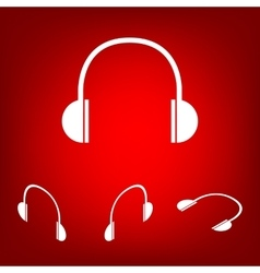 Headphones icon set Isometric effect vector image