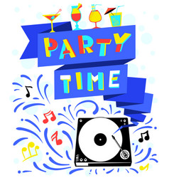 nightclub poster party time lettering vector image vector image