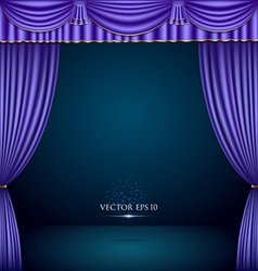 Purple and gold theater curtain classic vector image