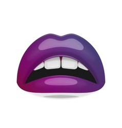 Realistic female Mouth with glossy Lips vector image
