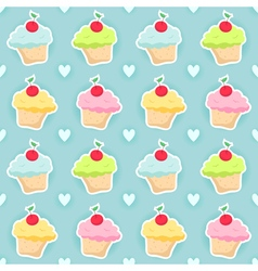 Seamless pattern with cupcakes and hearts vector image vector image