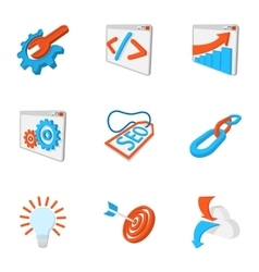 Seo icons set cartoon style vector