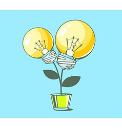 yellow lightbulbs growing in pot on blue vector image vector image