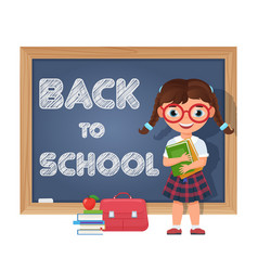 back to school schoolgirl chalkboard and school vector image