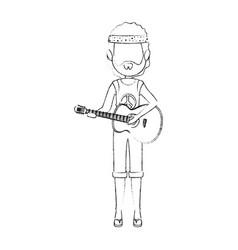 hippie man cartoon vector image