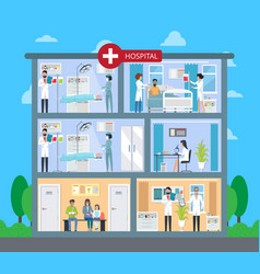 hospital building with floors vector image vector image