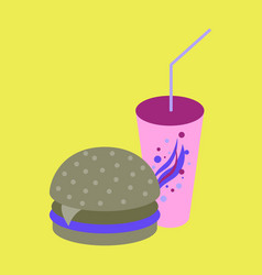icon in flat design for restaurant burger and soda vector image