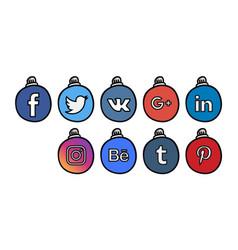 social icons 3 christmass ball vector image