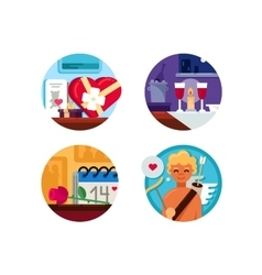 Valentine Day set of icons vector image vector image