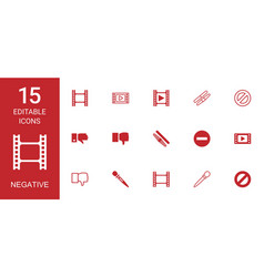 15 negative icons vector image