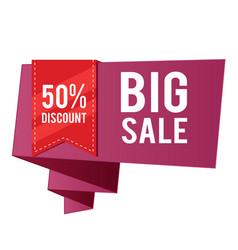 50 discount big sale red ribbon purple banner vec vector image