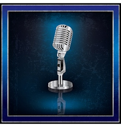 Abstract blue background with the retro microphone vector