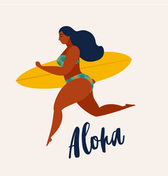 Aloha poster with surfer girl with surfboard vector