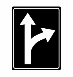 bifurcation traffic sign vector image