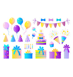 birthday party set decorative elements vector image