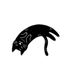 black cat sleeping isolated element cute feline vector image