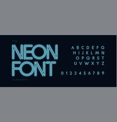 blue neon tube alphabet led contour font vector image