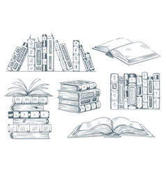 books engraving vintage open book engrave sketch vector image