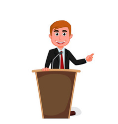 cartoon businessman presentation on podium vector image